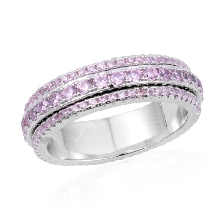 Round Pink Cubic Zirconia CZ Statement Statement Ring for Women Cttw 1.2 Jewelry Gift