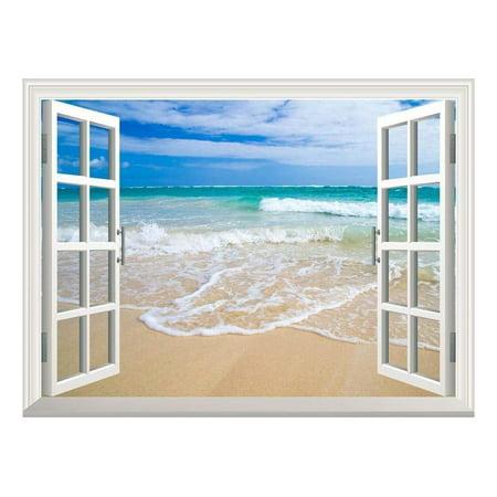 Wall26 Removable Wall Sticker / Wall Mural - Beautiful Blue Caribbean Sea Beach | Creative Window View Home Decor / Wall Decor - (Caribbean Wall Mural)