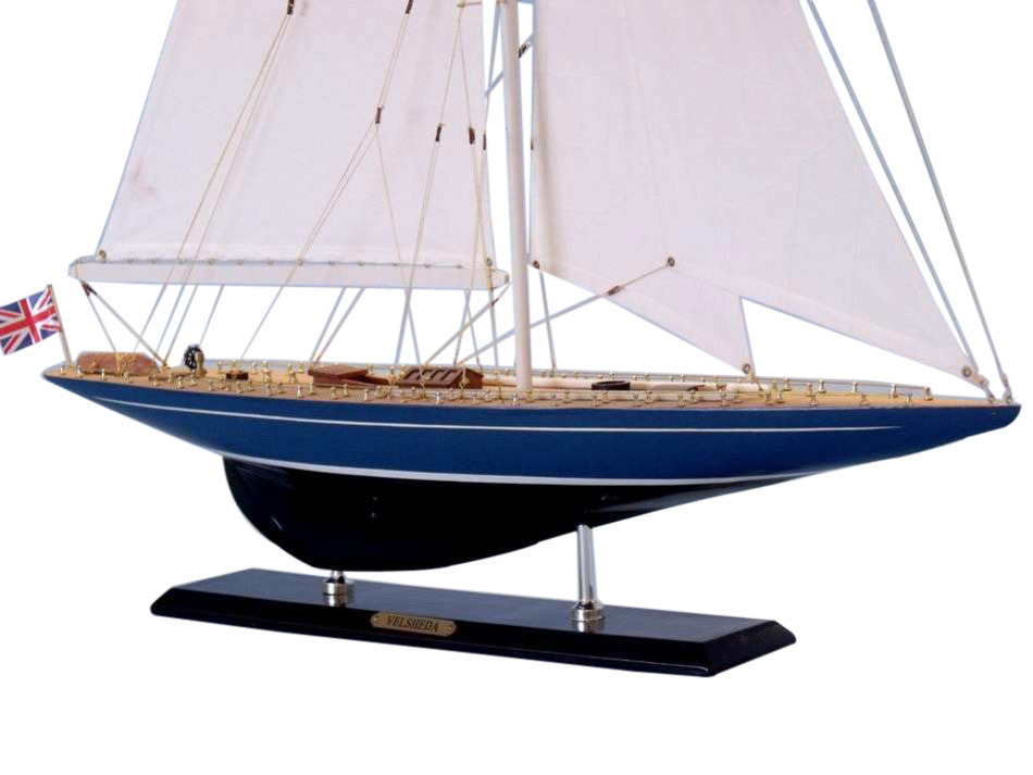 "Velsheda Limited 35"" Wooden Model Sailing Yacht Sailboat Decoration Model Sailboat Scale Model Yachts Nautical Gift Not a Model Ship... by Hampton Nautical"