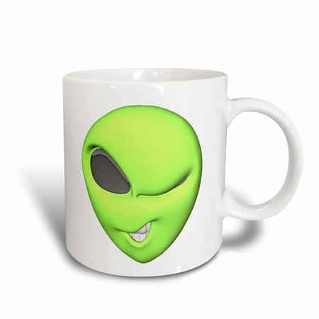 3dRose 3D Style Winking Flirty Green Alien Face, Ceramic Mug, 15-ounce](Face Mug)