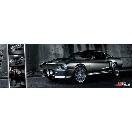 Shelby Gt500 Lamp - Ford Mustang Shelby GT500 - Door Poster / Print (Collage) (Size: 62 x 21)