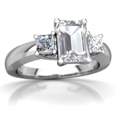 White Topaz Three Stone Trellis Ring in 14K White Gold