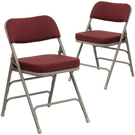 Flash Furniture 2-Pack HERCULES Series Premium Curved Triple Braced and Double Hinged Fabric Upholstered Metal Folding Chair, Multiple Colors (2 Upholstered Seat Folding Chair)