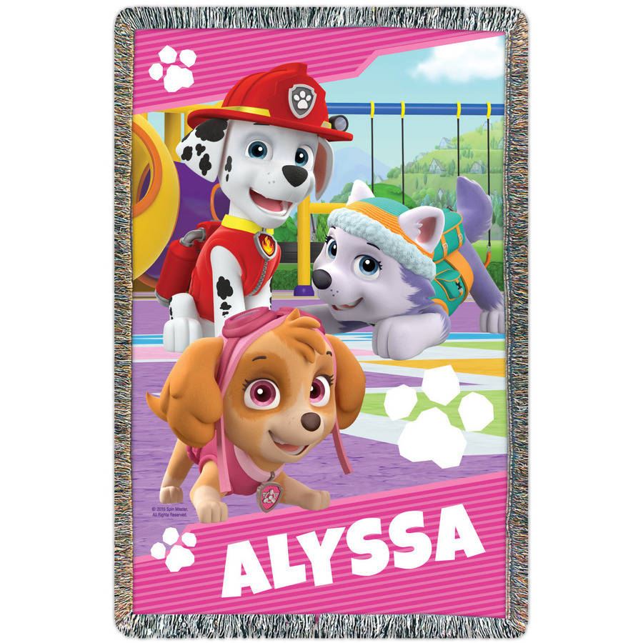 Personalized Paw Patrol Pups at Play Throw