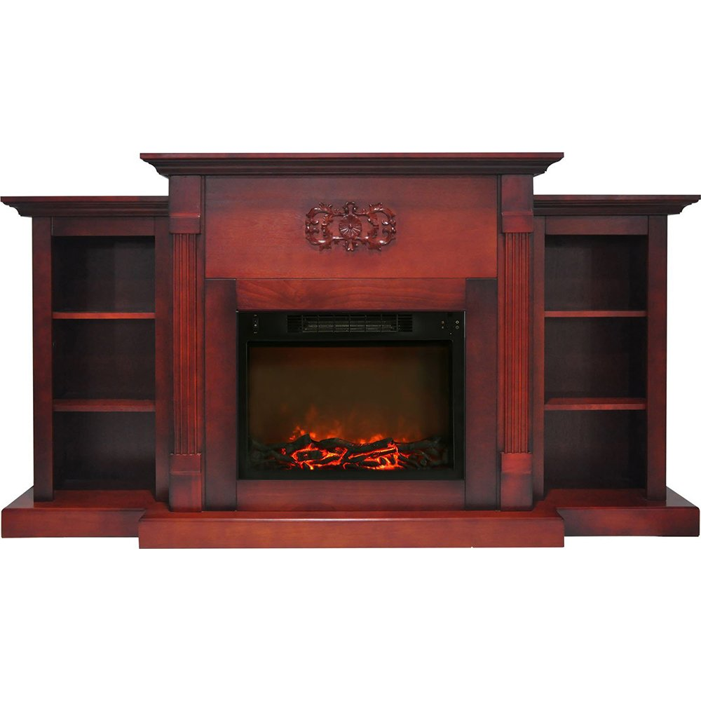 "Cambridge Sanoma Electric Fireplace Heater with 72"" Bookshelf Mantel and Charred Log Display"
