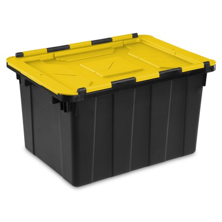 Sterilite 12 Gallon Yellow Lily Hinged Lid Industrial Tote, 2 Piece