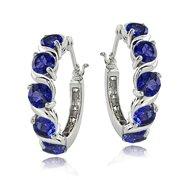 Sterling Silver 2.30ct TGW Created Blue Sapphire S Design Hoop Earrings