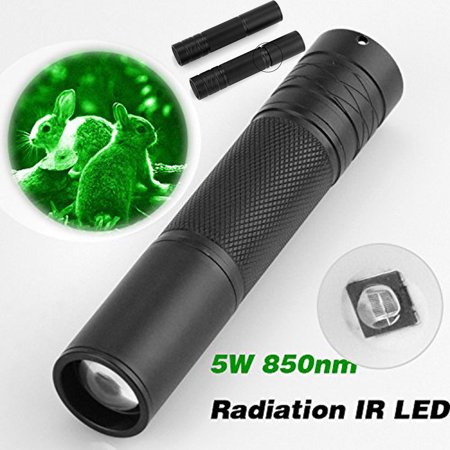 Outtop 5W 850nm LED Infrared IR Flashlight Torch Zoomable for Night Vision Scope (Night Ops Flashlight)