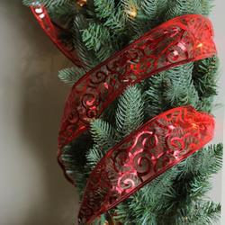 Pack Of 12 Swirls Of Red Wired Christmas Craft Ribbon Spools 2 5 X 120 Yards Total Walmart Com Walmart Com