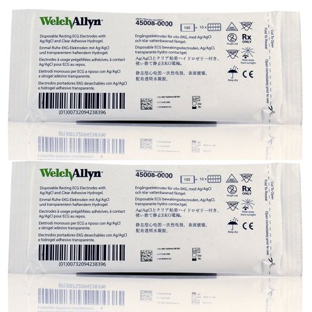 Welch Allyn 45008-0000 ECG Resting Tab Electrodes - 100/PK - Pack of 2 Clear Tape Ecg Electrode
