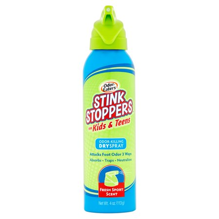 Odor Eaters Stink Stoppers for Kids and Teens, Odor-Killing Dry Spray, 4 Oz