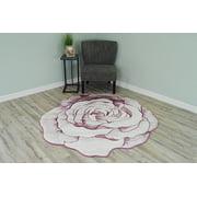 FLOWERS 3D Effect Hand Carved Thick Artistic Floral Flower Rose Botanical Shape Area Rug Design 304 Pink 6'6''x6'6'' Round