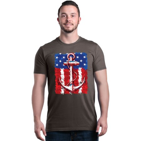 Shop4Ever Men's American Flag Anchor 4th of July Graphic T-shirt