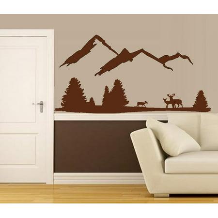 Decal ~ Deer Mountain Scene #3 with Three Deer: Wall Decal 45
