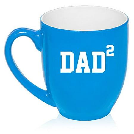 Dad Large Mug (16 oz Large Bistro Mug Ceramic Coffee Tea Glass Cup DAD x2 Squared Father Of 2 (Light Blue))