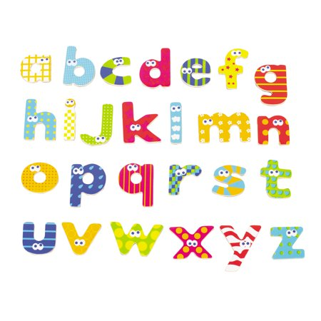 Boikido - Wooden Magnetic Lower Case Letters, 59 Pieces