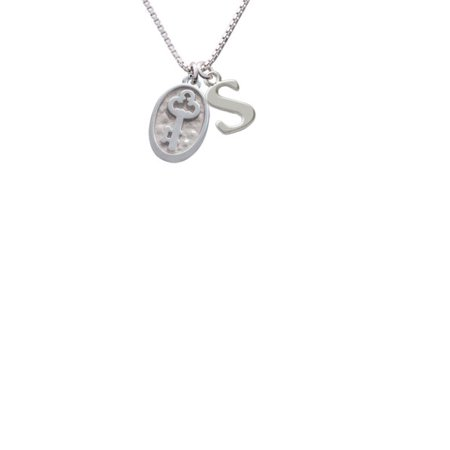 Silvertone Key   Oval Seal Capital Initial S Necklace