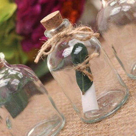 BalsaCircle 12 pcs Clear Round Glass Favors Bottles with Cork Stoppers - Hanging Bowl Plants Wedding Party Centerpieces Decorations