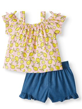 f3c62e41b Product Image Forever Me Off-shoulder Top & Ruffle Shorts, 2pc Outfit Set  (Toddler Girls