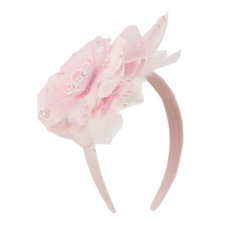 Kids Dream Girls Pink Flower Rhinestone Pearl Feather Satin Headband