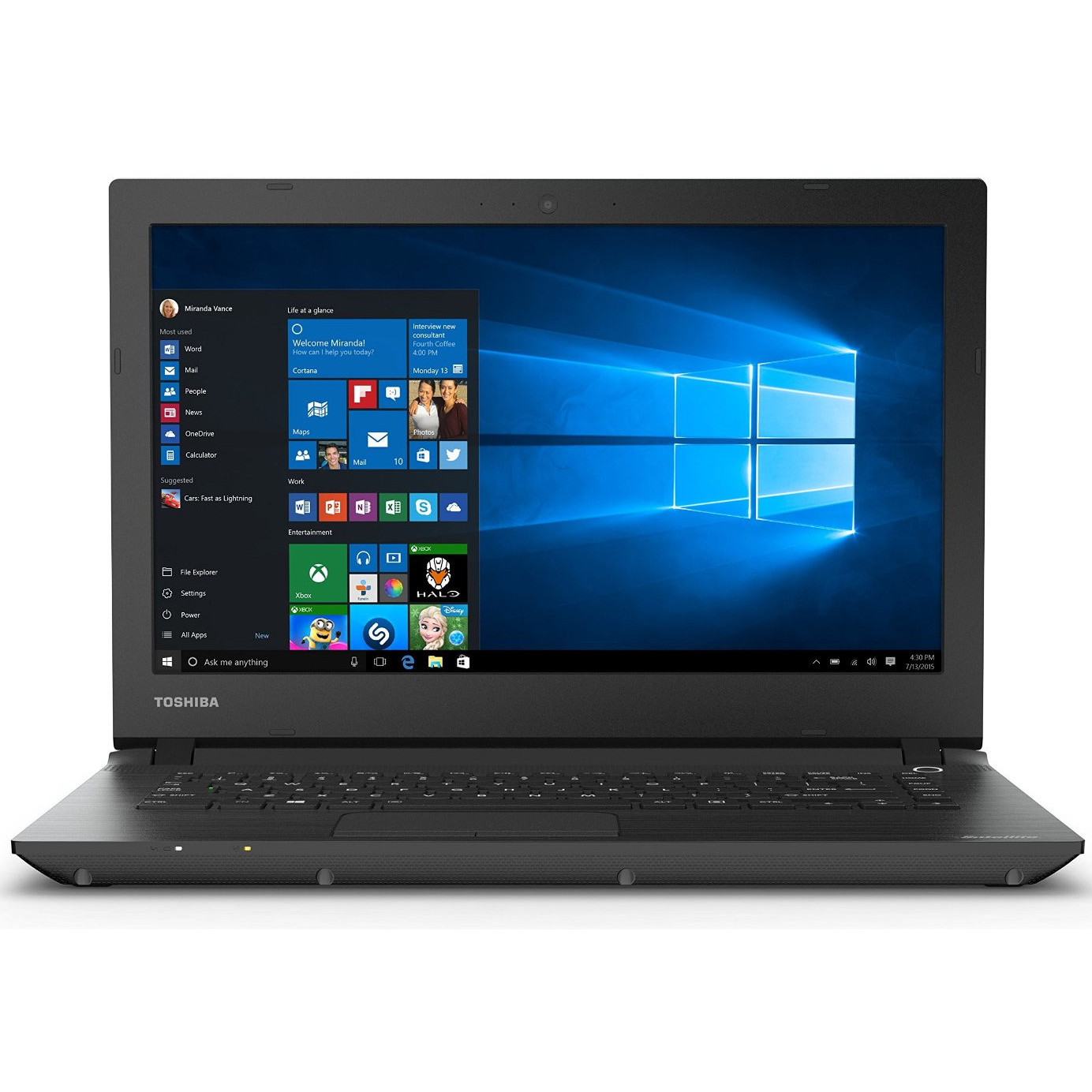 "Refurbished Toshiba Satellite 14"" LED Intel Celeron 2.16GHz 2GB 32GB SSD Windows 10 Laptop"