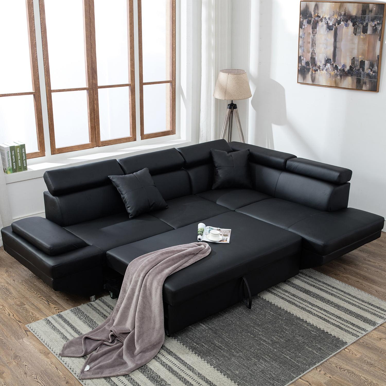 Contemporary Sectional Modern Sofa Bed Black With Functional Armrest Back R Walmart Com Walmart Com