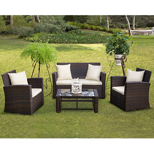 Nolan 4-Piece Resin Wicker Patio Conversation Set, Brown by Resin Furniture