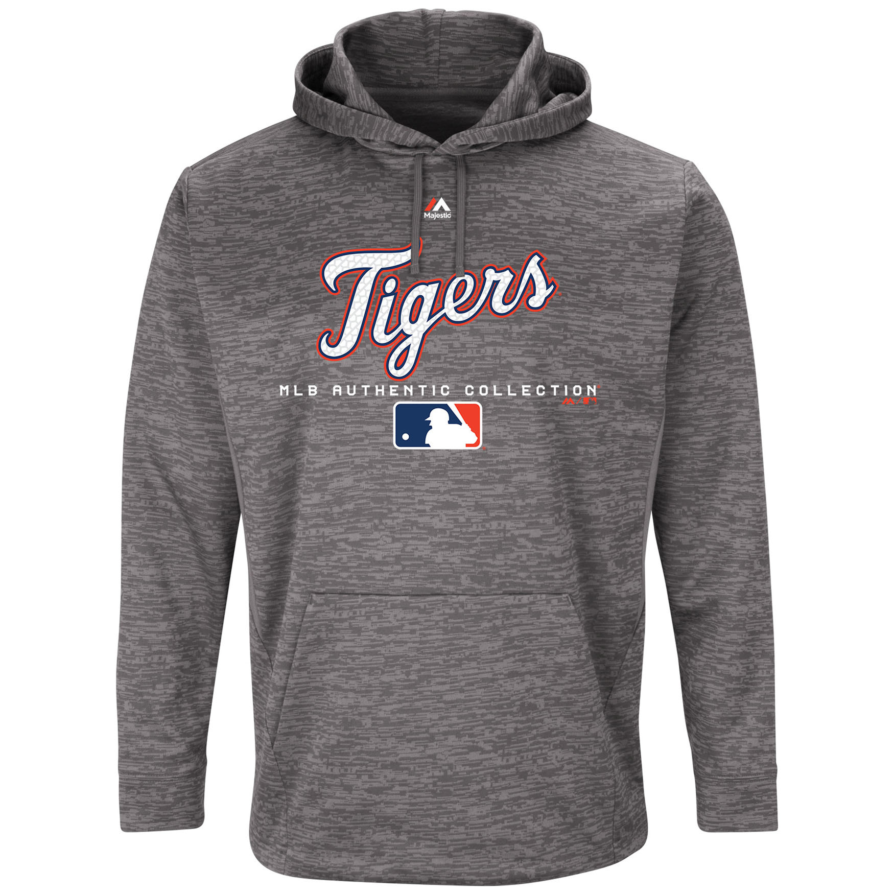 Detroit Tigers Majestic Authentic Collection Team Drive Ultra-Streak Fleece Pullover Hoodie - Graphite