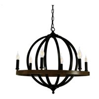 Canyon Home 6 Light Chandelier Globe (Matte Black) Round, Steel Sphere with Wood Patterned Decorative Circle | Dining Room, Foyer, or Entryway Home Decor