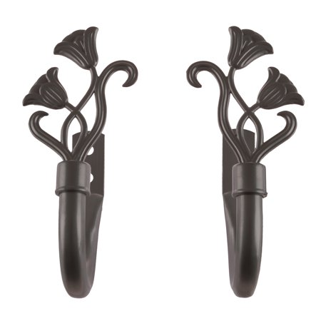 Curtain Holdbacks with Mounting Hardware- Decorative Drape Tieback Hooks with Floral Finials for Home Décor, Set of 2 by Somerset Home (Bronze)