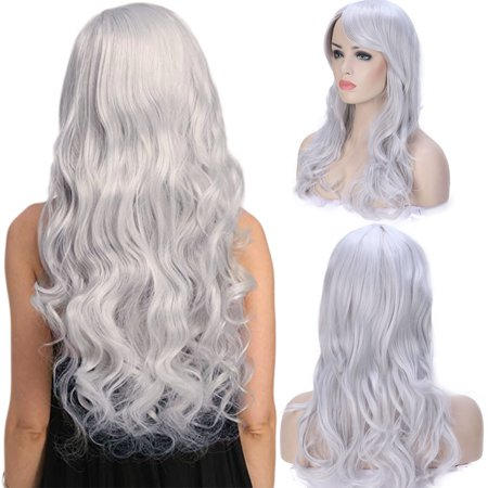 Short White Curly Wig (S-noilite Anime Cosplay Synthetic Wig Long Curly Wavy Heat Resistant Fiber Full Wig with Bangs Layered Vogue for Women Ash)