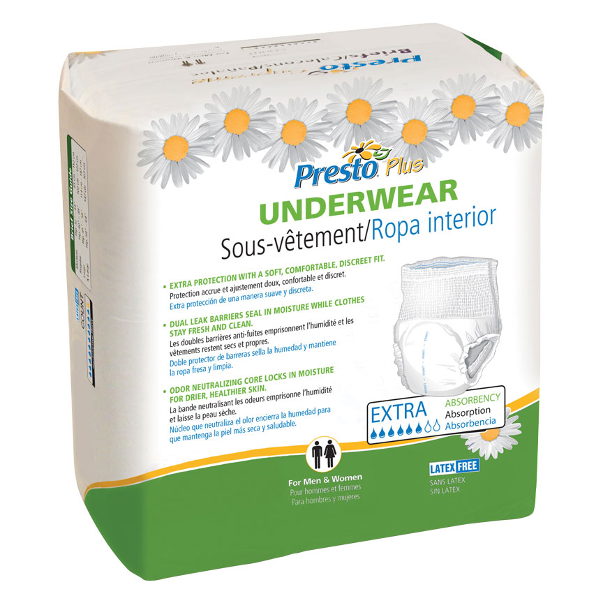 Presto Plus Extra Absorbency Adult Underwear 20-Pack Medium Size ONE PACK ONLY