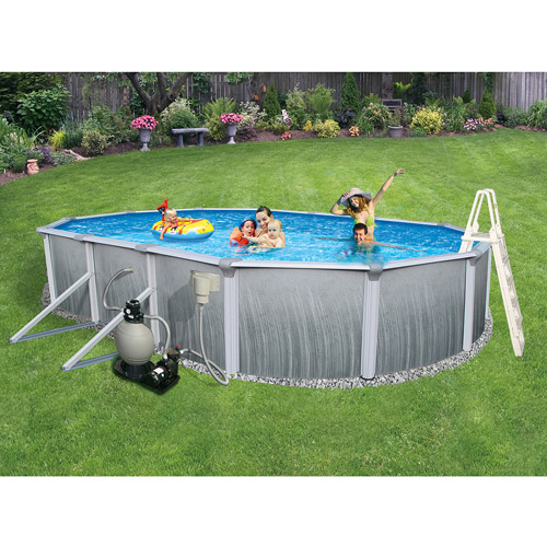 "Blue Wave Oval 24' x 12' x 52"" Deep Martinique 7"" Top Rail Metal-Walled Swimming Pool"