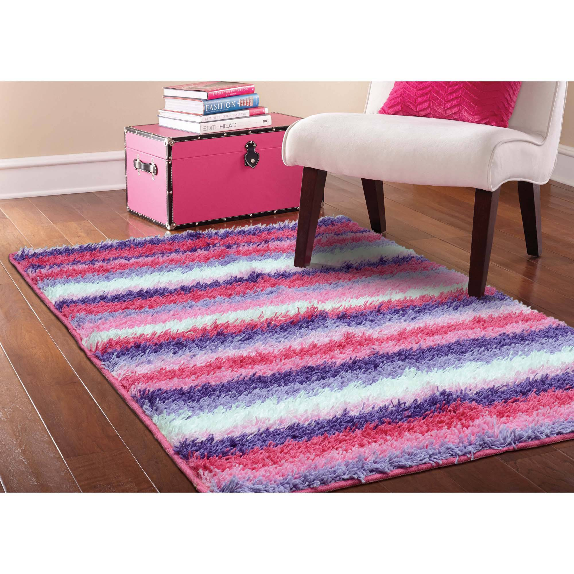 3 8 x2 6 your zone striped shag rug living room kids decor home 2 5 rh ebay com Pink Shaggy Rug Black Shaggy Rugs