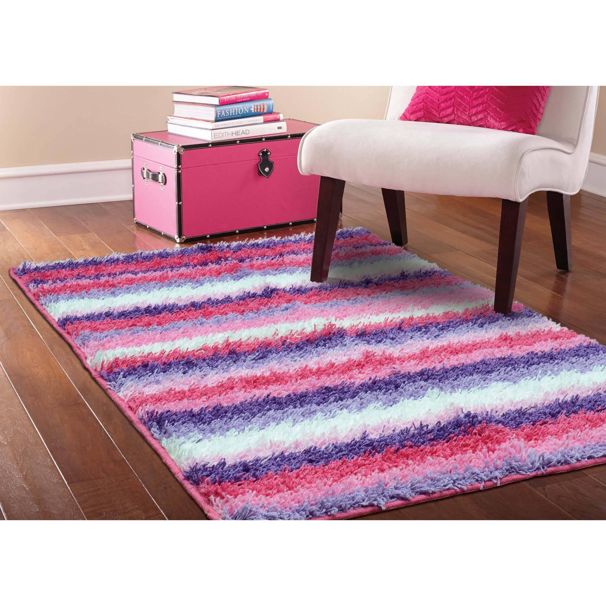 Your Zone Striped Shag Rug Pink 3 8 Quot X 2 6 Quot Walmart Com