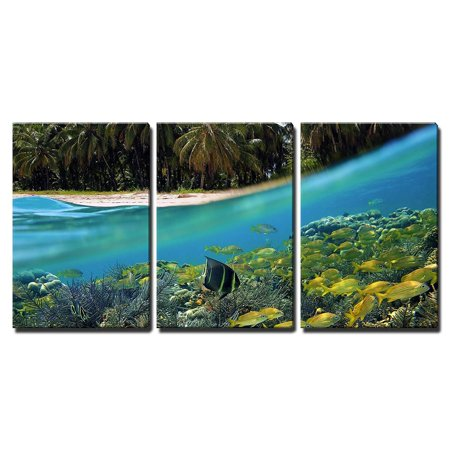 "wall26 - 3 Piece Canvas Wall Art - Surface and Underwater View with Beach, Coconuts Trees and School of Fish in Coral, Panama - Modern Home Decor Stretched and Framed Ready to Hang - 16""x24""x3 Panels"