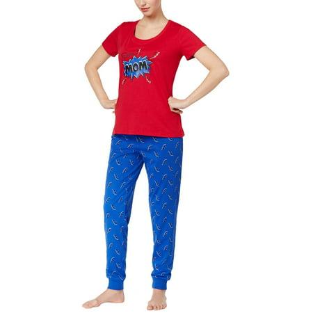 Family PJs Family Pajamas Womens Super Mom Pajama Set Thunder Bolts](Family Pajamas Sets)