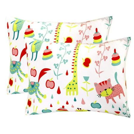 Mellanni Toddler Pillowcase Set Animal-Print - Pack of 2 Toddler Size - Super Soft Kids Bedding (Set of 2 Pillowcases, Animal Print)
