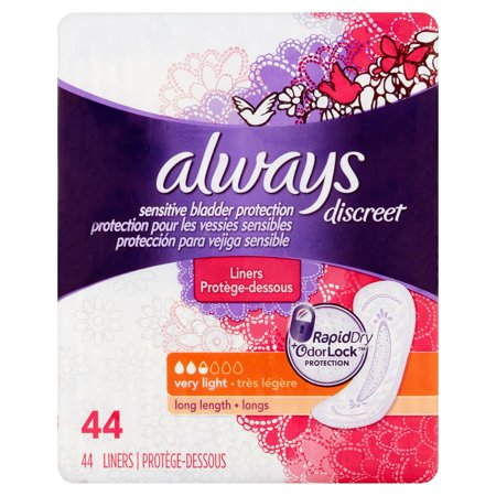 Always Discreet Bladder Protection Liners Very  Long Length   44 Ct