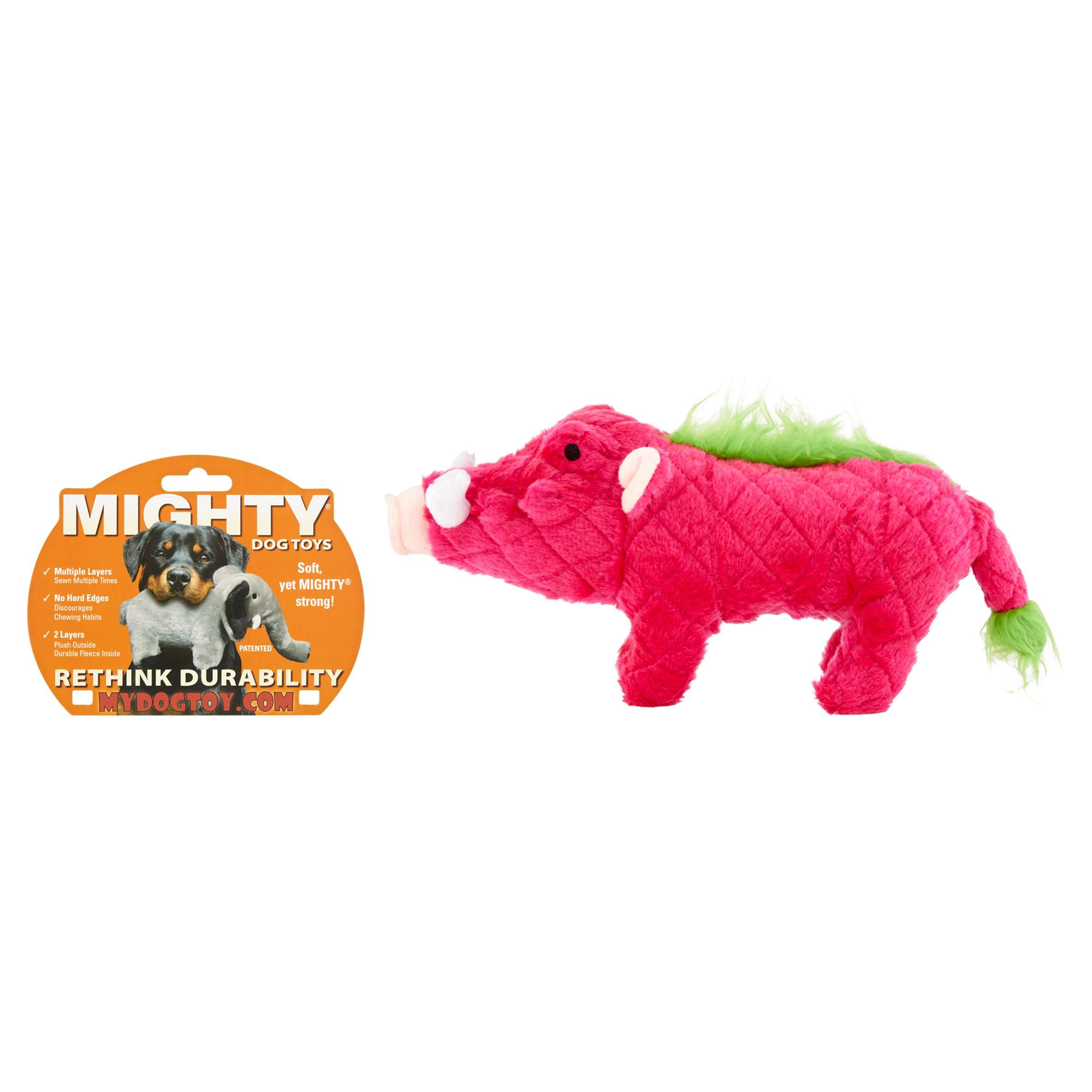 VIP Products Mighty Safari Warthog Dog Toy, Multicolor