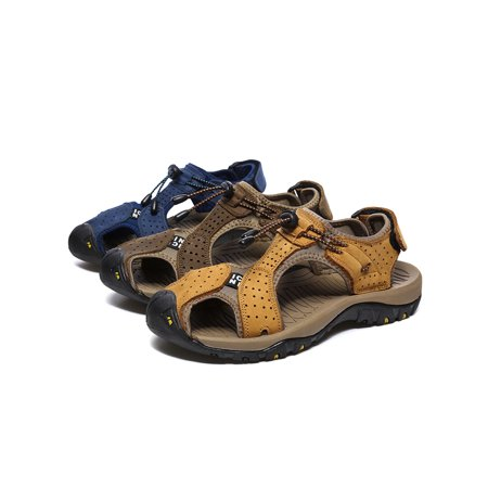Mens Closed Toe Hiking Sandals Leather Fisherman Sandal for Athletic Outdoor Beach Sport ()