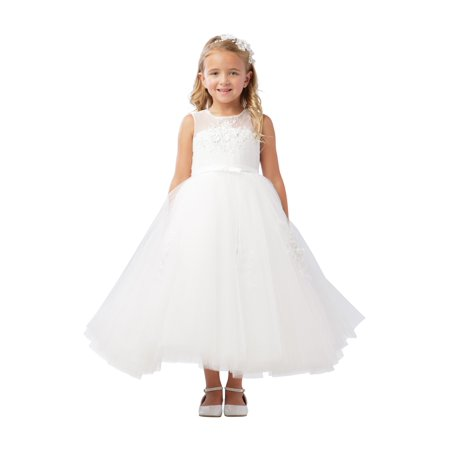 503142f1c Tip Top Kids - Little Girls Ivory Illusion Neckline Bow Satin Sash ...