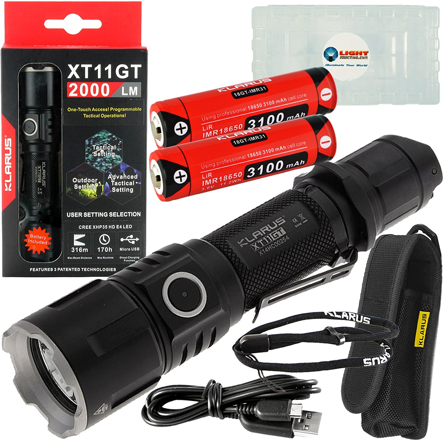 Klarus XT11GT Tactical Rechargeable Flashlight CREE XHP35 HD E4 LED 2000 Lumens w/ Extra IMR 18650 3100mAh Battery and Lightjunction Battery Case