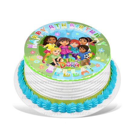 Dora And Friends Cake (Dora and Friends Edible Cake Image Topper Personalized Picture 8 Inches)