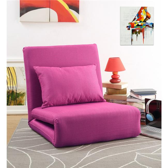 Loungie Relaxie Linen 5-Position Adjustable Convertible Flip Chair  Sleeper Dorm Bed Couch Lounger Sofa - Pink