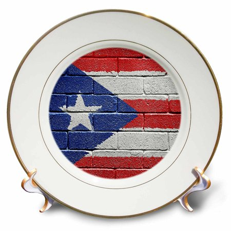 3dRose National flag of Puerto Rico painted onto a brick wall Rican, Porcelain Plate,