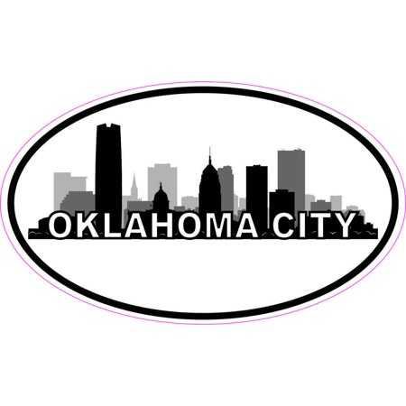 5inx3in oval oklahoma city skyline sticker luggage decal car cup stickers