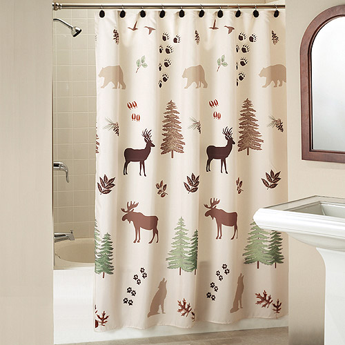 Silhouette Lodge Shower Curtain With Bonus Hooks