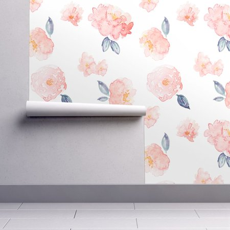 Peel-and-Stick Removable Wallpaper Blush Pink Peonies Baby Girl Nursery