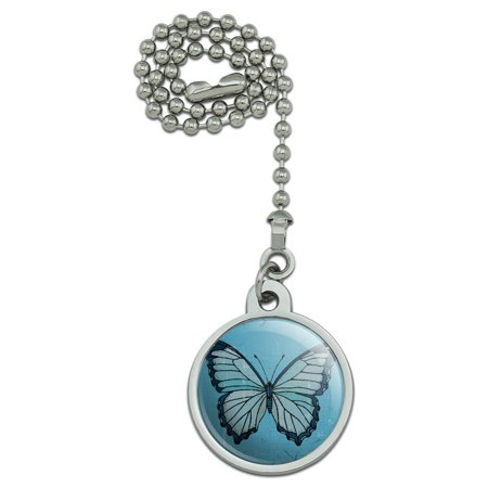 Butterfly Artsy Blue Ceiling Fan and Light Pull Chain - Light Blue Butterfly